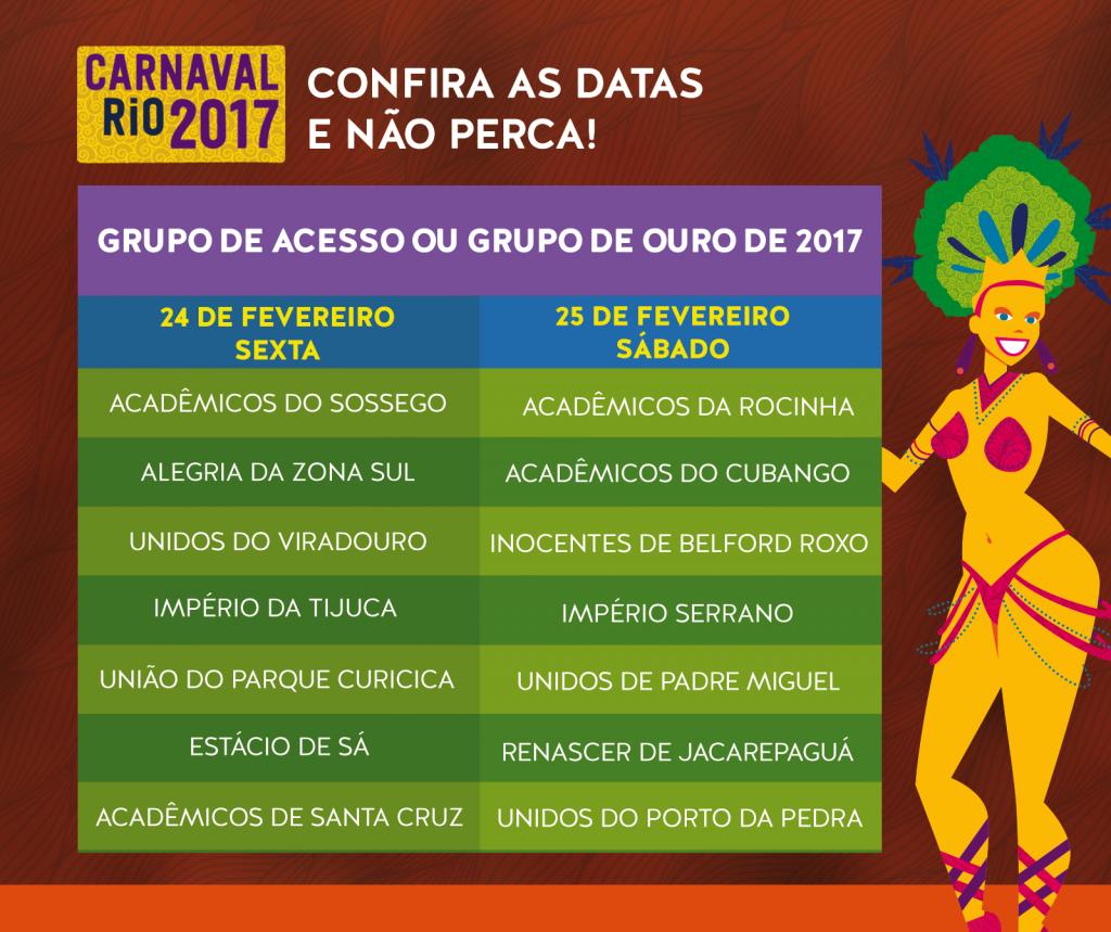Ordem Grupo de Acesso - Rio Carnaval 2017